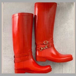 Coach Lori Red Tall Rubber Pull On Rain Boots 8